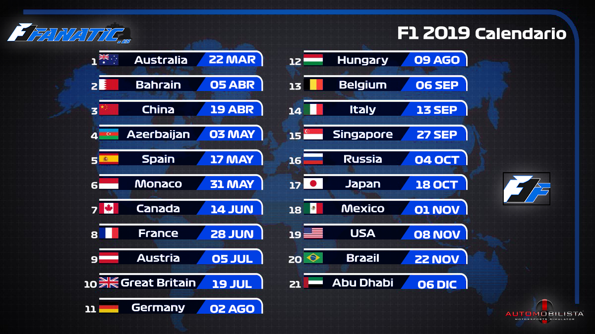 Inscripciones F1 Automobilista 2019 Calendario-2019